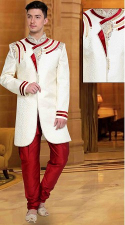 Lovely Neck Embroidered White Brocade Wedding Sherwani DTWSH735