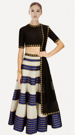 Lovely Off White Silk And Net Designer Crop Top Lehenga SUUDL2313