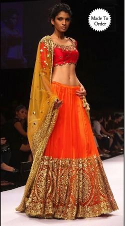 Lovely Orange Premium Fabric Embroidered Designer Replica Lehenga Choli BP0208