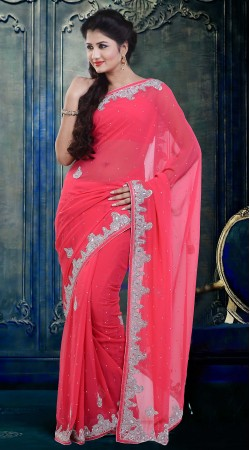 Lovely Pink Faux Georgette Stone Work Party Wear Saree ZP2904