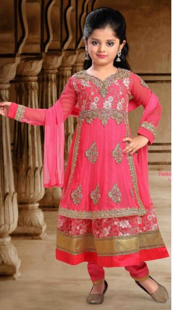 Lovely Pink Georgette Designer Readymade Kids Suit With Dupatta DT300541