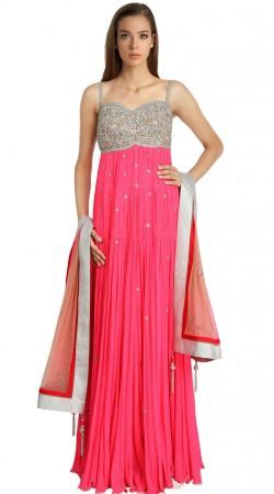 Lovely Pink Georgette Readymade Indo Western Salwar Kameez SU18010