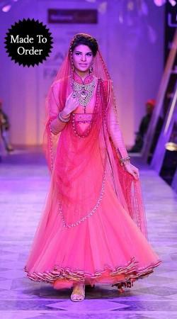 Lovely Pink Net Jacqueline Fernandez Replica Bollywood Anarkali Suit BP0603