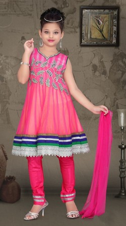 Lovely Pink Net Readymade Kids Suit DT907929