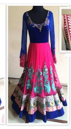 Lovely Pink Premium Fabric Designer Replica Floor Touch Anarkali BP1404