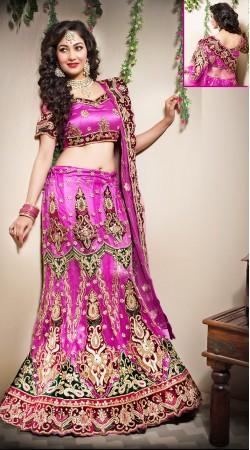 Lovely Pinkish Magenta Net Bridal Lehenga Choli LD00605