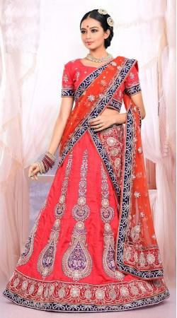 Lovely Pinkish Red Raw Silk Feel Bridal Lehenga Choli ZP0605