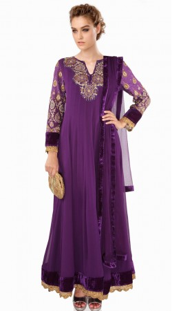 Lovely Purple Georgette Party Wear Salwar Kameez With Dupatta SUMA609
