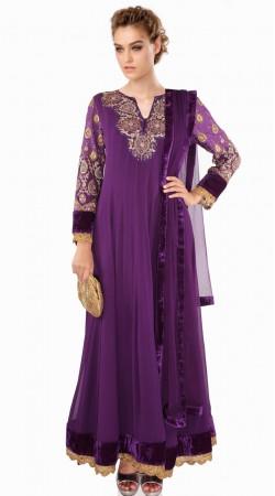 Lovely Purple Georgette Party Wear Salwar Kameez With Dupatta SUMA609