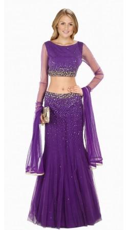 Lovely Purple Net Wedding Lehenga Choli With Dupatta SUUDL8614