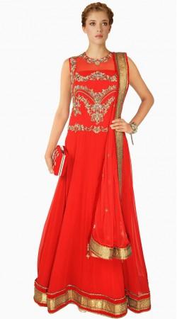 Lovely Red Georgette Yoke Emboridered Party Wear Salwar Kameez SUMA509