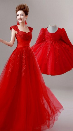 Lovely Red Matching Dress For Mother And Daughter BP1250