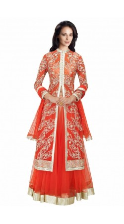Lovely Red Net And Silk Shatoon Embroidered Long Choli Lehenga SUUDL6614