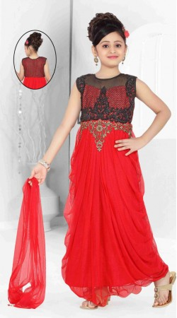 Lovely Red Net Embroidered Readymade Kids Long Gown DT701937