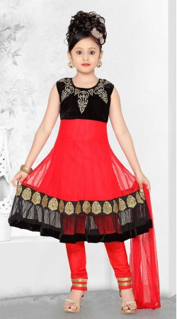Lovely Red Net Readymade Kids Long Anarkali Suit With Dupatta DT50442