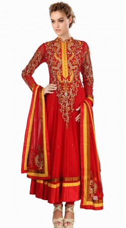 Lovely Red Net Readymade Plus Size Salwar Kameez With Dupatta SU18310