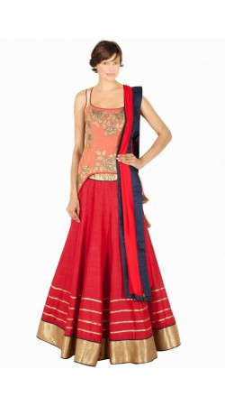 Lovely Red Silk And Net Wedding Lehenga Choli SUUDL8114