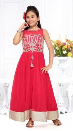 Lovely Silver Border Red Net Designer Readymade Kids Gown DT51142