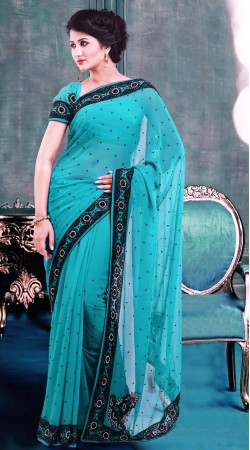 Lovely Sky Blue Faux Georgette Stone Work Exclusive Saree ZP3904