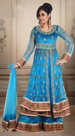 Lovely Sky Blue Net Embroidered Wedding Long Choli Lehenga DT902734