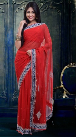 Lovely Stone Work Bright Red Faux Georgette Diwali Saree ZP2004