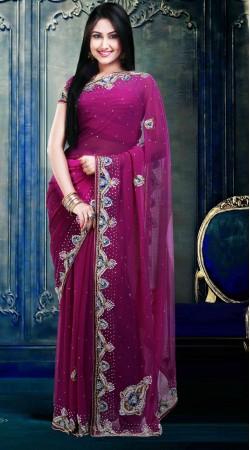 Lovely Stone Work Purple Faux Georgette Party Wear Saree ZP1604