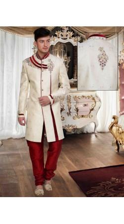 Lovely White Brocade Embroidered Designer Wedding Sherwani DTWSH2435