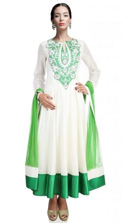 Lovely White Chanderi Silk Ankle Length Anarkali Suit SUUDS17502