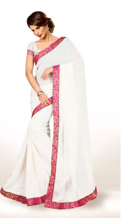 Lovely White Chiffon Pink Border Exclusive Saree KCV3416507