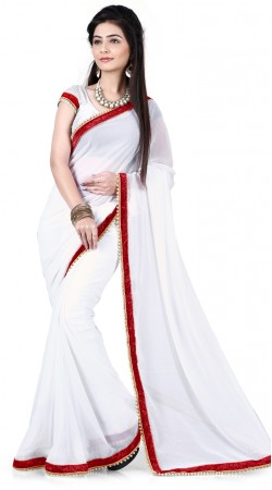 Lovely White Georgette Moti Work Bridesmaid Saree With Red Border RJ39310