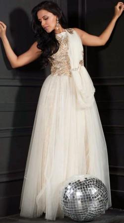 Lovely White Net Bollywood Neha Dhupia Indowestern Gown