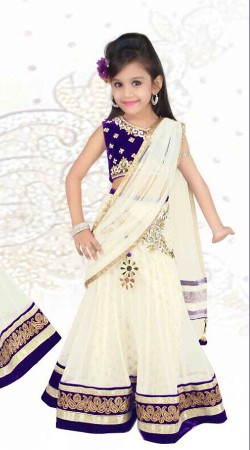 Lovely White Net Designer Readymade Kids Lehenga Saree DT52242