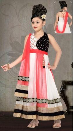 Lovely White Net Red Dupatta Style Designer Readymade Kids Gown DT51342