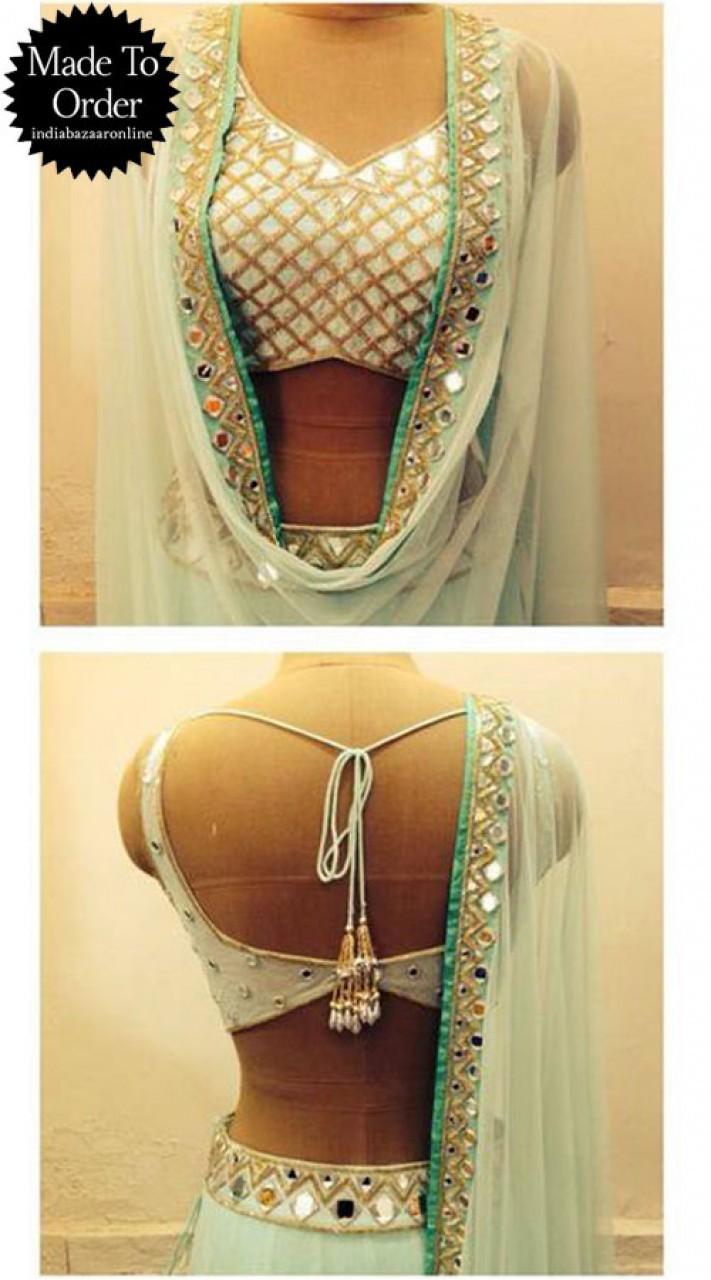 White Premium Fabric Designer Blouse For Saree VPBDB24