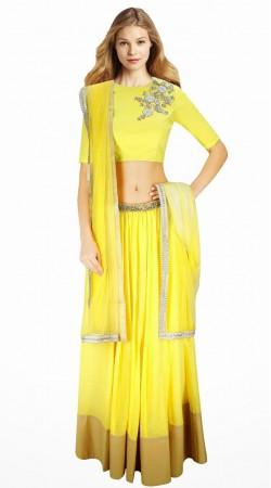 Lovely Yellow Cotton Silk And Net Lehenga Choli With Dupatta SUUDL3513
