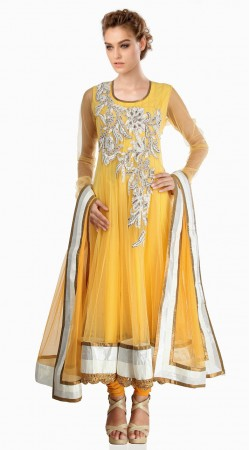 Lovely Yoke Embroidered Yellow Net Exclusive Salwar Kameez SU23411