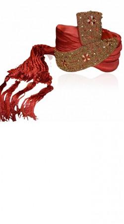 Lovely Zari Thread Work Red Art Silk Designer Groom Wedding Pagri ZP0906