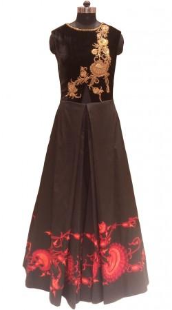 Lovers Heart Satin Silk Black Designer Floor Length Gown LD001306