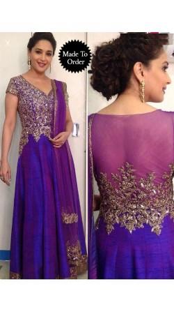 Madhuri Dixit In Long Purple Dual Shade Salwar Kameez