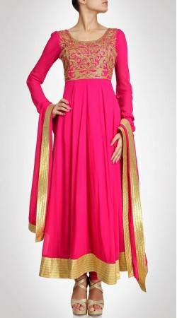 Magenta Georgette Ankle Length Anarkali Suit SU7901