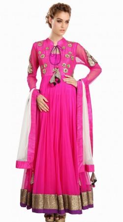 Magenta Net Readymade Designer Salwar Kameez With Dupatta SU15410