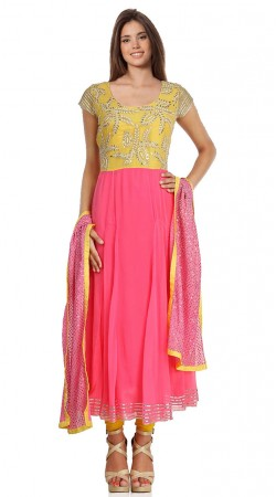 Magenta Pink Georgette Long Length Anarkali Suit SU8201