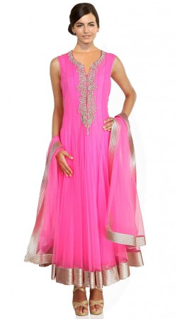 Magenta Pink Net Ankle Length Anarkali Suit SU1601