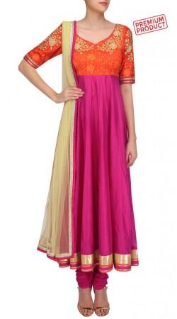 Magenta Silk Anarkali Salwar Kameez With Dupatta SUMS29521