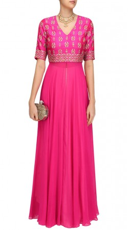 Magenta Silk And Georgette Embroidery Work Suit SUUDS46726