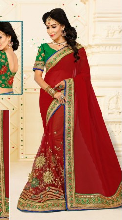 Magnetize Red Floral Work Saree With Contrast Green Blouse VB11134C29