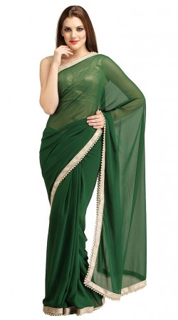 Magnificent Faux Georgette Green Pearl Moti Bridesmaid Saree 2YS118660
