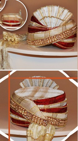 Magnificent Off White And Red Art Silk Groom Wedding Pagri ZP1308