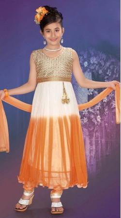 Magnificent Orange And Off White Net Kids Girl Anarkali Suit DTK1152