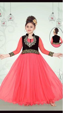 Magnificent Pink Net Short Koti Style Designer Kids Gown DT53244